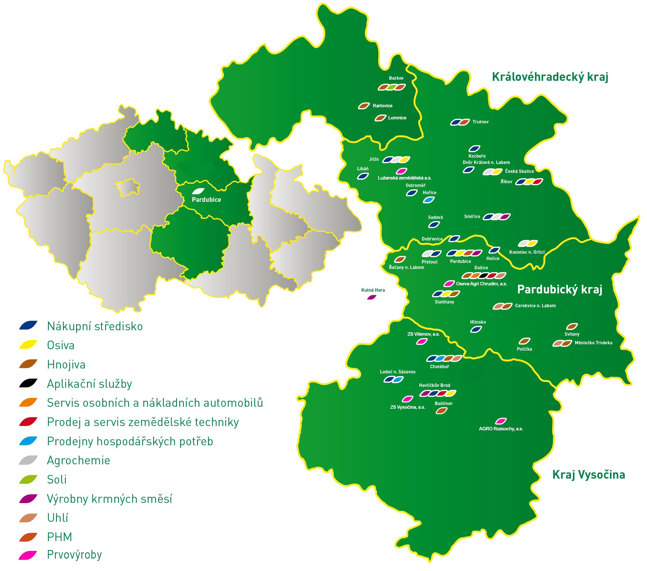CEREA - mapa působnosti
